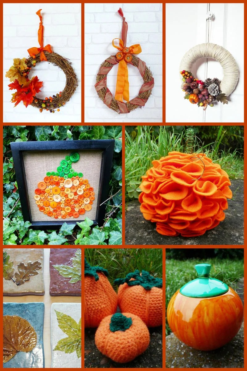 Autumn Wreaths, button pumpkin picture, felt pumpkin, autumn leaf coasters, crochet pumpkin, ceramic pumpkin pot