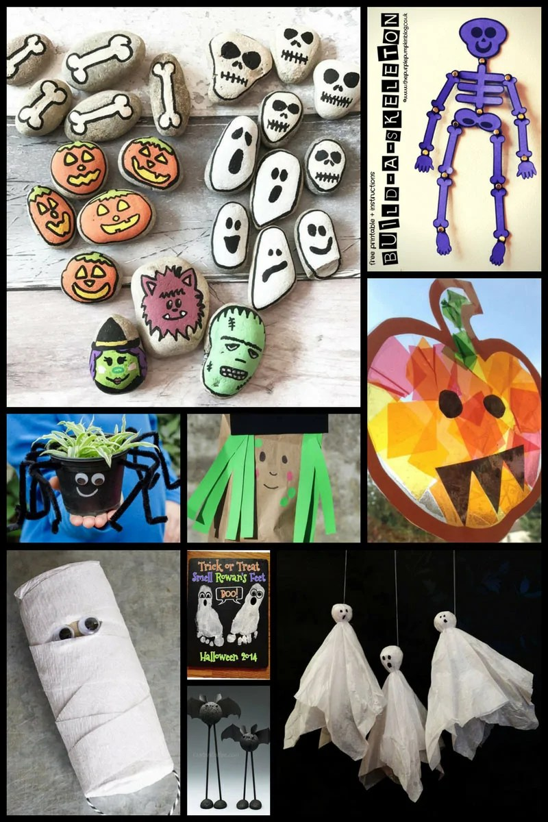 30+ Fun Halloween Crafts for Kids including stone painting, build-a-skeleton, and spider planters!