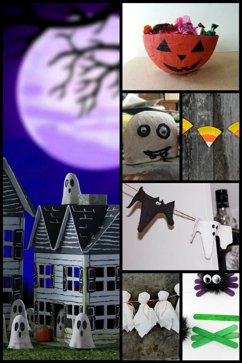 30+ Fun Halloween Crafts for Kids including halloween garlands, concrete ghosts and spooky spiders!