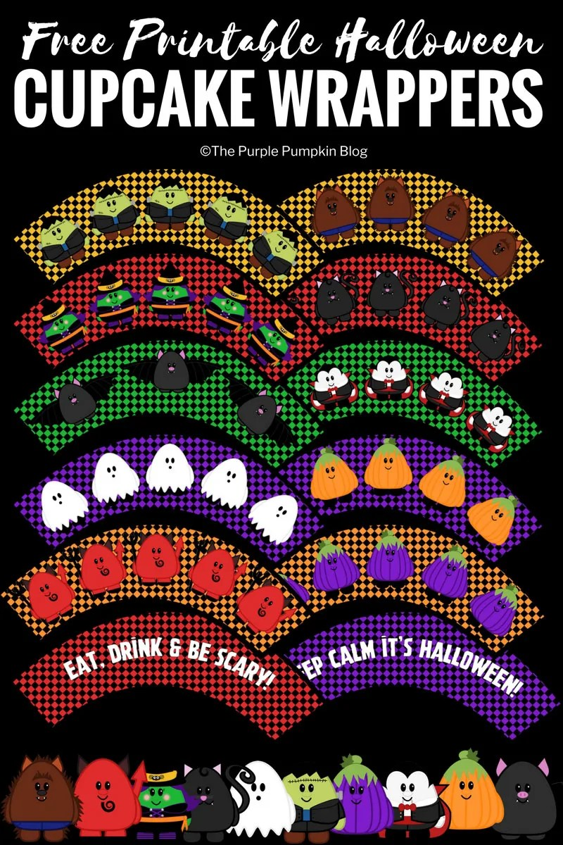 graphic regarding Printable Cupcake Wrappers called No cost Printable Lovable Halloween Cupcake Wrappers