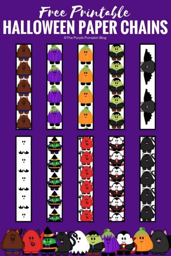 Cute Halloween Paper Chains - a super easy decoration to make for a Halloween party! Lots of fun for the kids to make too - just print and cut before looping and linking together to form lots of long paper chains!