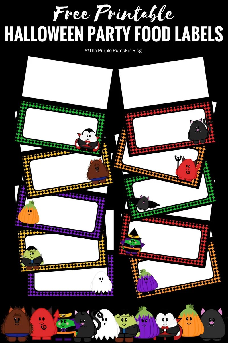 photograph regarding Free Printable Food Labels for Party known as Absolutely free Printable Adorable Halloween Celebration Meals Labels
