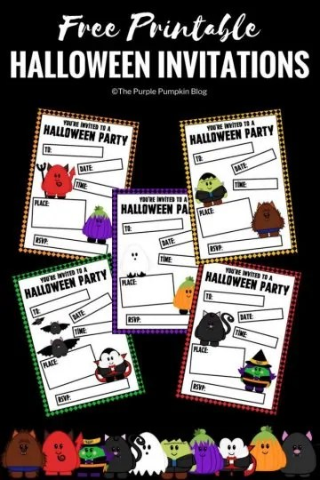 Free Printable Cute Halloween Invitations + lots of other awesome free Halloween printables!