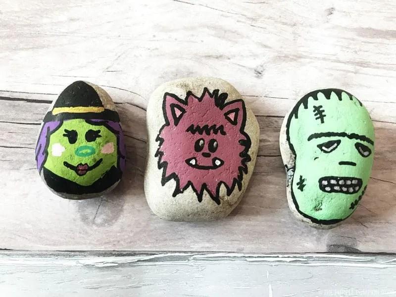 Halloween Stones - Witch, Werewolf & Frankenstein's Monster