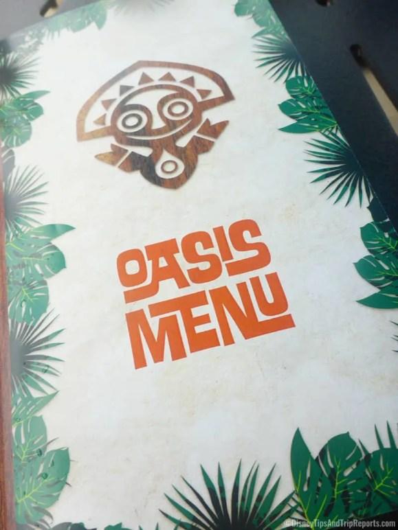 Oasis Bar & Grill Menu, Disney's Polynesian Village Resort