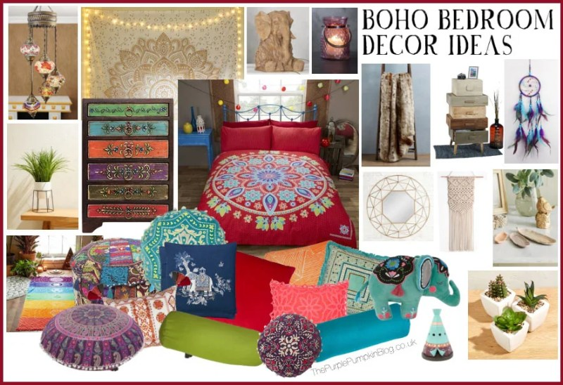 Boho Bedroom Decor Ideas - a mood board with scatter cushions, ornaments, decorative items, and furniture for a bohemian styled bedroom