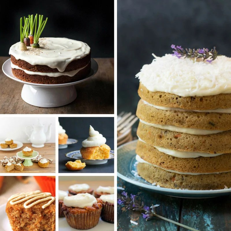 Delicious Carrot Cake Recipes including cupcakes, muffins, and large cakes.
