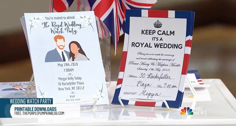 As seen on the Today Show! Royal Wedding, Free Party Printables! If you are planning a viewing party for the Royal Wedding of Prince Henry and Meghan Markle, you can print these free printables for the royal wedding to use in your celebrations! Included in this set of Royal Wedding Party Printables are: invitations, cupcake toppers, cupcake wrappers, food labels, bunting, and more!