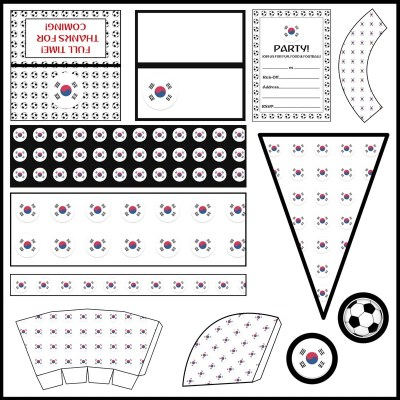South Korea: Football Party Printable Set