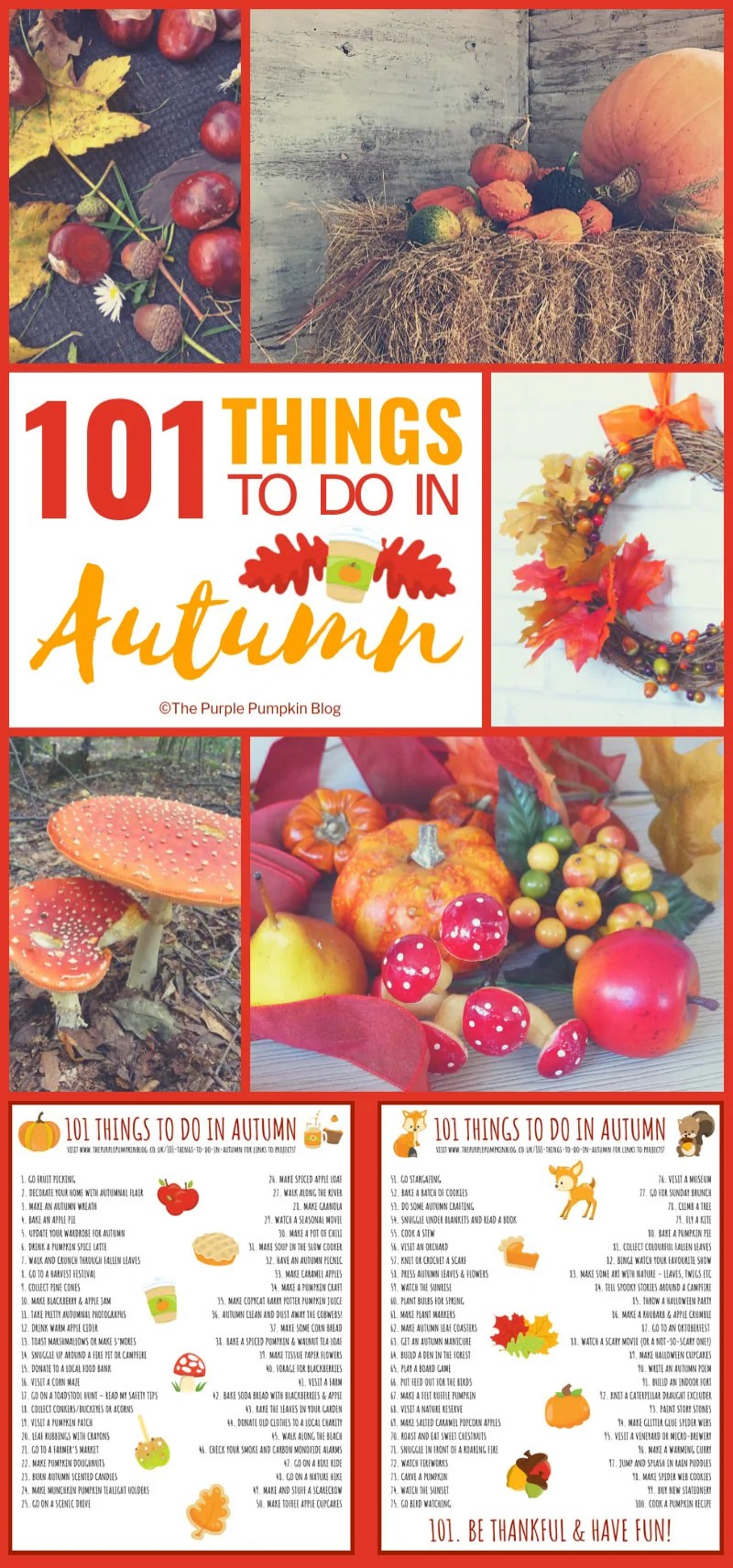 101 Things To Do In Autumn - with a variety of indoor and outdoor activities, as well as recipes, crafts and other fun ideas for the fall season!