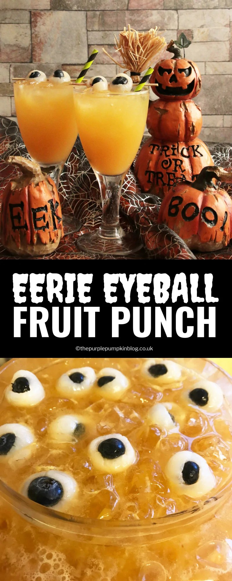 """This Eerie Eyeball Fruit Punch is a great drink to serve at a Halloween Party. It can be kept non-alcoholic for non-drinkers and kids, or laced with booze for the drinkers. The floating """"eyeballs"""" give it that eerie edge!"""