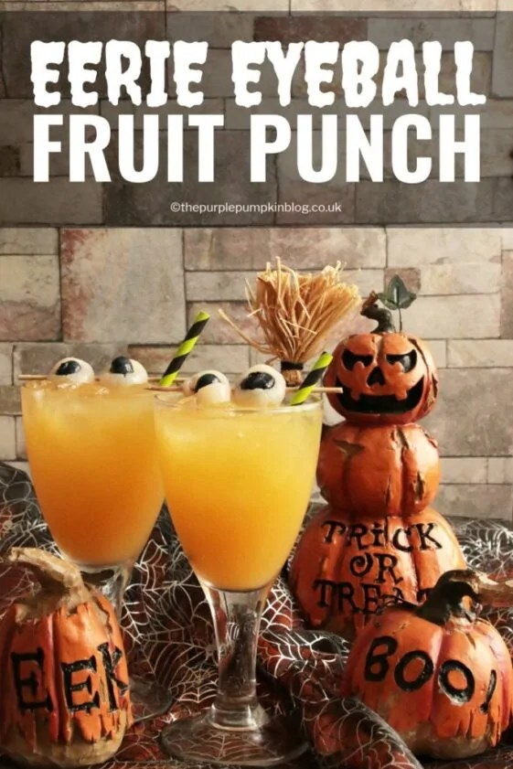 "This Eerie Eyeball Fruit Punch is a great drink to serve at a Halloween Party. It can be kept non-alcoholic for non-drinkers and kids, or laced with booze for the drinkers. The floating ""eyeballs"" give it that eerie edge!"