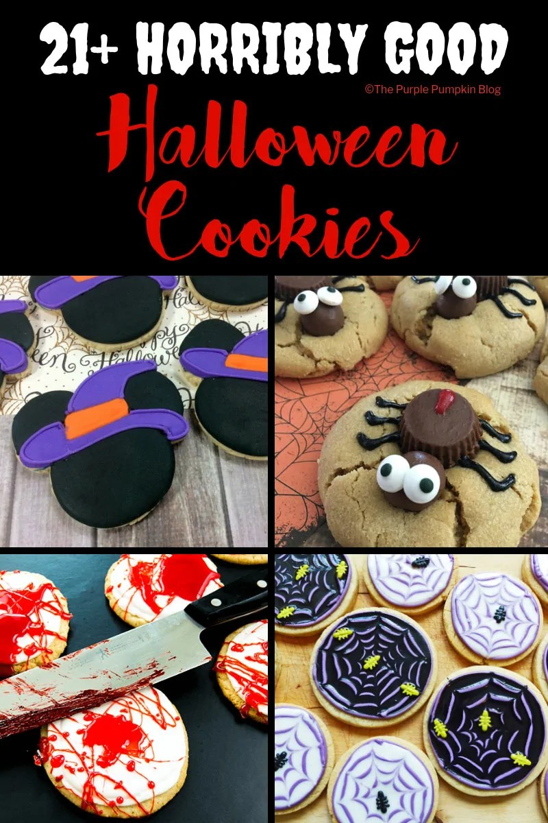 These 21+ Horribly Good Halloween cookies include Halloween cookie recipes that you bake from scratch, as well as cheat's cookies where you decorate store bought ones.