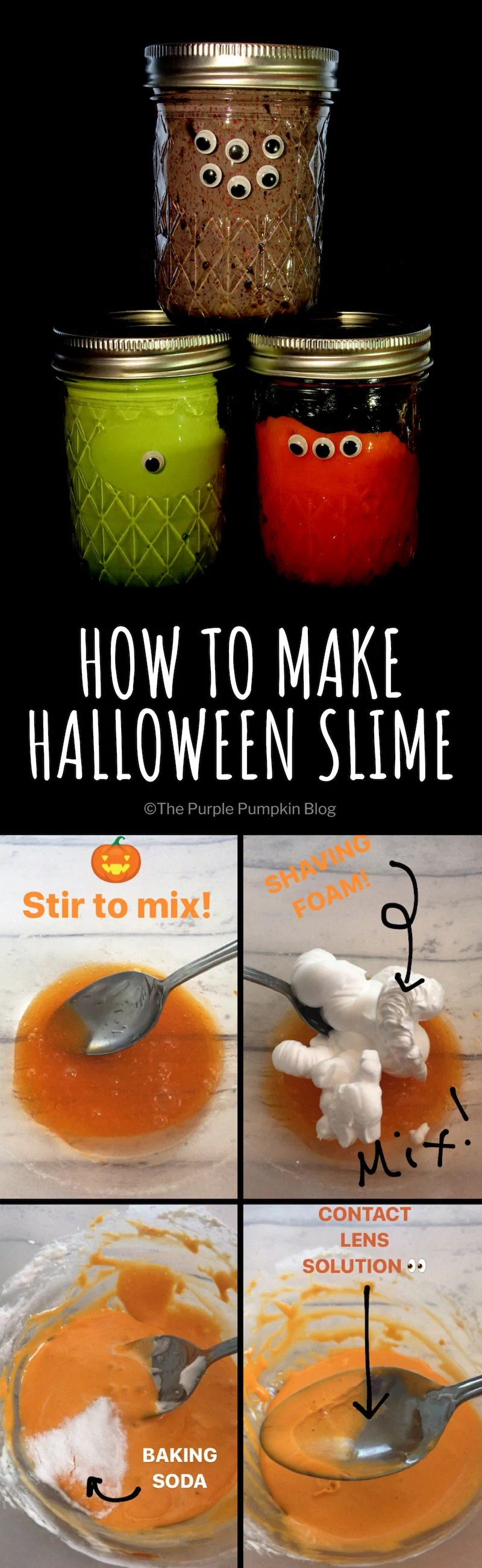 How To Make Halloween Slime! This ooey-gooey Halloween Slime is easy to make a fun to play with! Most of the ingredients can be found at home - shaving foam, white PVA/Elmers Glue, glitter, food colouring, bicarbonate of soda/baking soda, and contact lense solution. Adult supervision required for kids.