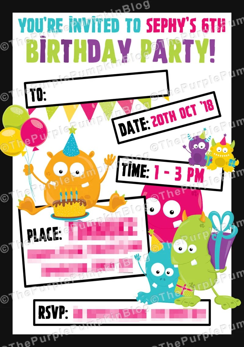 Monster Party Invitations Example