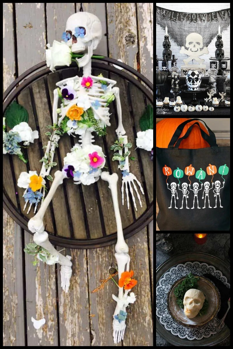13 Spectacular Skeleton Crafts & Recipes for Halloween - a selection of spooky crafts including wreaths, paper crafts, and more, plus delicious recipes for cake pops, truffles, and cupcakes!