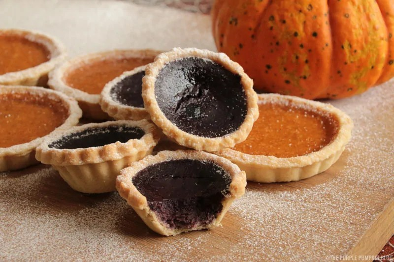 Give pumpkin pie a colorful twist to make them into purple pumpkin pies! Recipe from The Purple Pumpkin Blog!