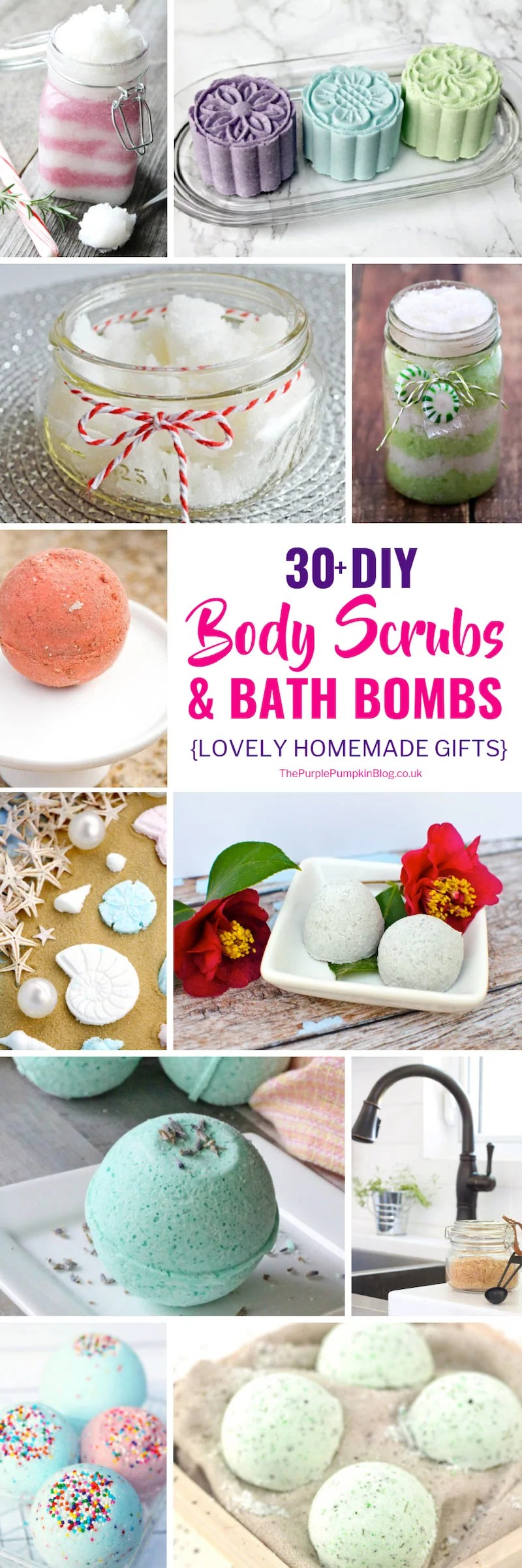 DIY Body Scrubs & Bath Bombs make lovely homemade gifts for Christmas or throughout the year. Some of the supplies used in making these body scrubs and bath bombs can be found at home, so you might be able to get started making them right away! #homemadegifts #diybodyscrubs #diybathbombs #sugarscrubs
