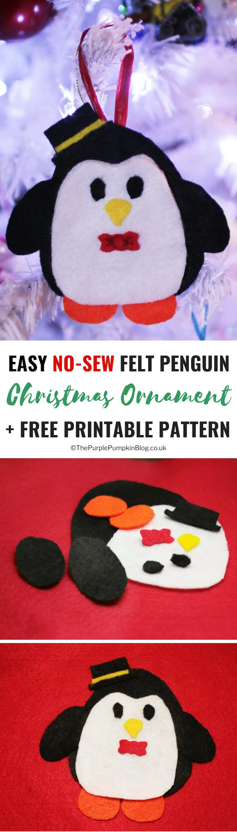 This No-Sew Felt Christmas Ornament Penguin is absolutely adorable, and so easy to make! With the Free Printable Pattern you can make a whole family of penguins to hang on your Christmas tree! All you need is some felt, glue and a piece of ribbon!