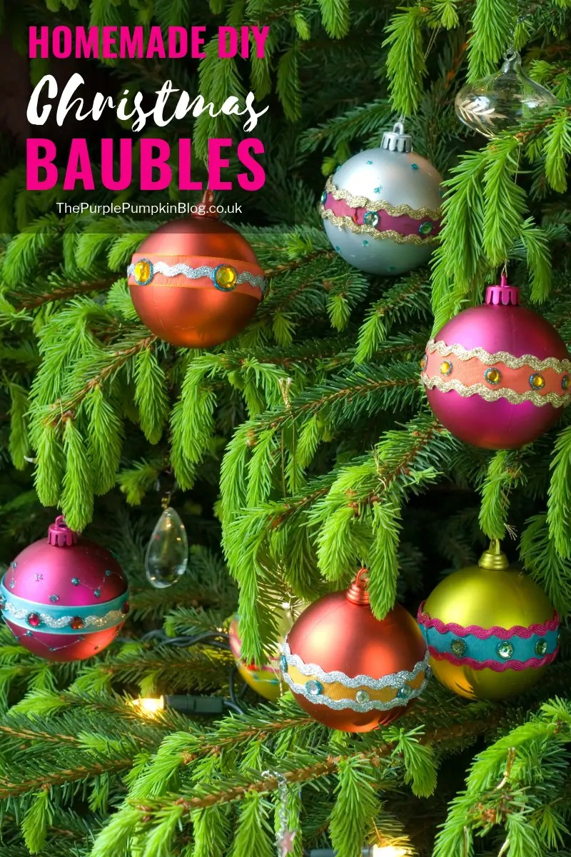 These Homemade DIY Christmas Baubles/Ornaments are a great way to use up leftover craft scraps like ribbon, sequins, gems etc., as well as a way to spruce up older baubles/ornaments (I'm sure we all have those in our Christmas decoration boxes!) and give them new life!