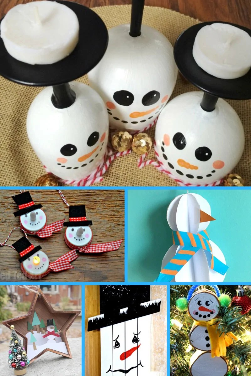 20 Super Sweet Snowman Crafts for Winter & Christmas. Including in this round up are a mixture of craft ideas including snowman ornaments, paper crafts, and homemade gift ideas.