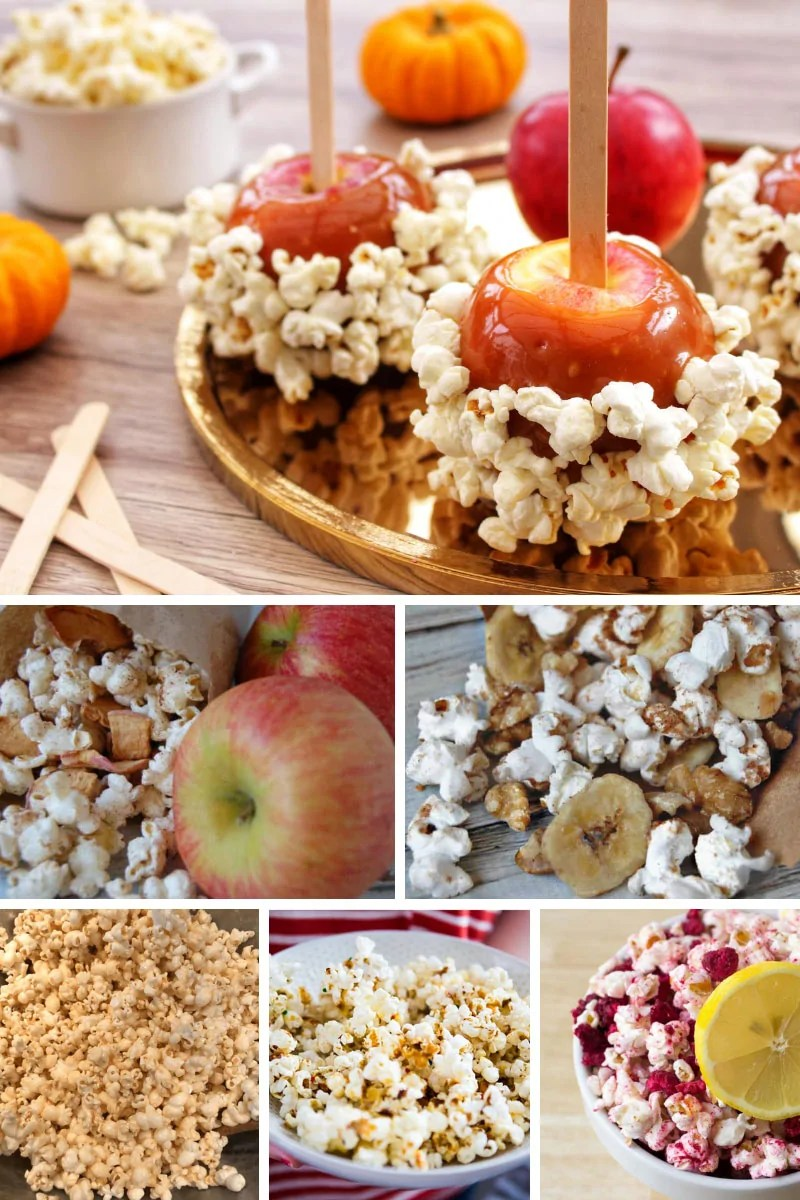 50 Awesome Popcorn Recipes for Movie Nights & Parties! Give plain popcorn flavor and fun with these popcorn recipes. Sweet, savory, spicy, smokey, seasonal, cheesey and themed popcorn mixes (and some surprising ideas) are in this delicious roundup! #PopcornRecipes #PopcornMix #InstantPotPopcorn #MoviePopcorn #PartyPopcorn