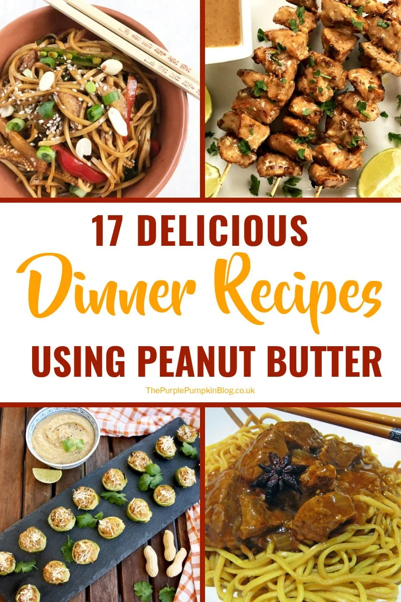 Peanut butter isn't just for PB&J sandwiches! Why not give one of these 17 delicious dinner recipes using peanut butter a try? You'll love the irresistible nutty flavor of these recipes which include noodles, salads, meat, and fish dishes. #PeanutButterRecipes #DinnerRecipes #ThePurplePumpkinBlog