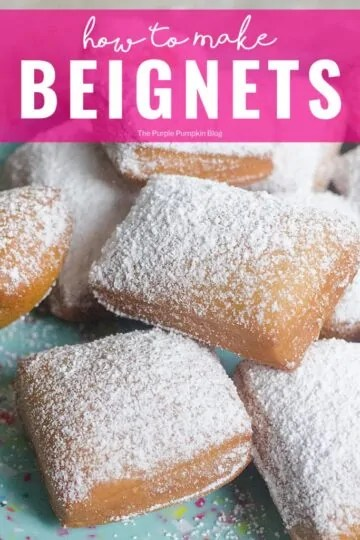 Learn how to make beignets with this awesome recipe. These deep-fried pastries are covered in powdered sugar and absolutely delicious - one is never enough! Make them for Mardi Gras, or for a special sweet treat any time of year! #Beignets #SweetTreats #ThePurplePumpkinBlog #MardiGras