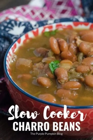 These flavourful beans can be cooked not only in a slow cooker/crock pot, but also in an instant pot, or old fashioned pressure cooker. And if you don't have any of those kitchen appliances, then it can be cooked on the stove top too (and even over a campfire). So that makes these authentic Mexican charro beans both delicious and versatile! #CharroBeans #SlowCookerRecipes #ThePurplePumpkinBlog #MexicanRecipes