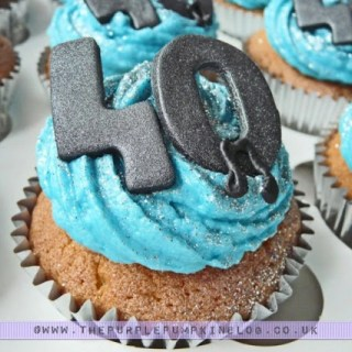 40th Birthday Cupcakes - Blue with Musical Notes