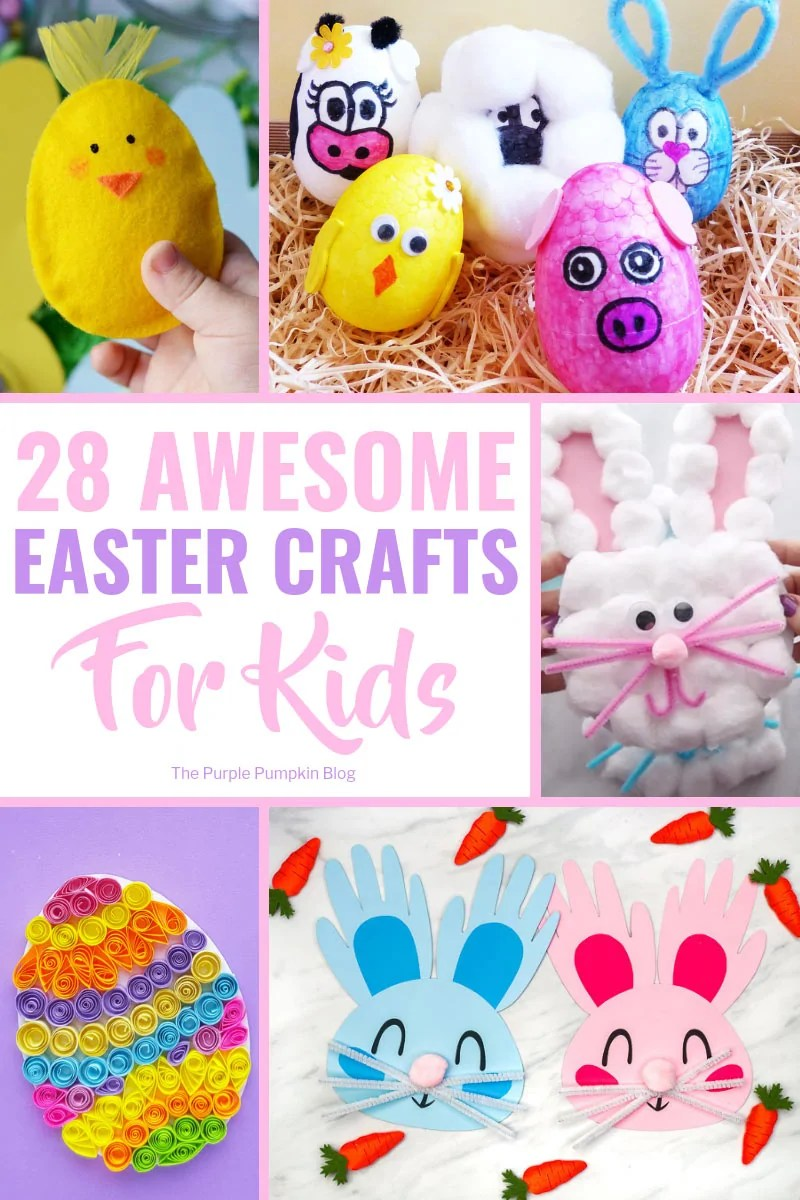 """An awesome collection of fun Easter Crafts for Kids that will certainly keep the kiddos occupied and stave off cries of """"I'm bored"""" as they wait for the Easter Bunny! The Easter crafts include egg decorating, card making, painting, food crafts, free printables and more! #EasterCraftsForKids #EasterCrafts #KidsCrafts #ThePurplePumpkinBlog"""