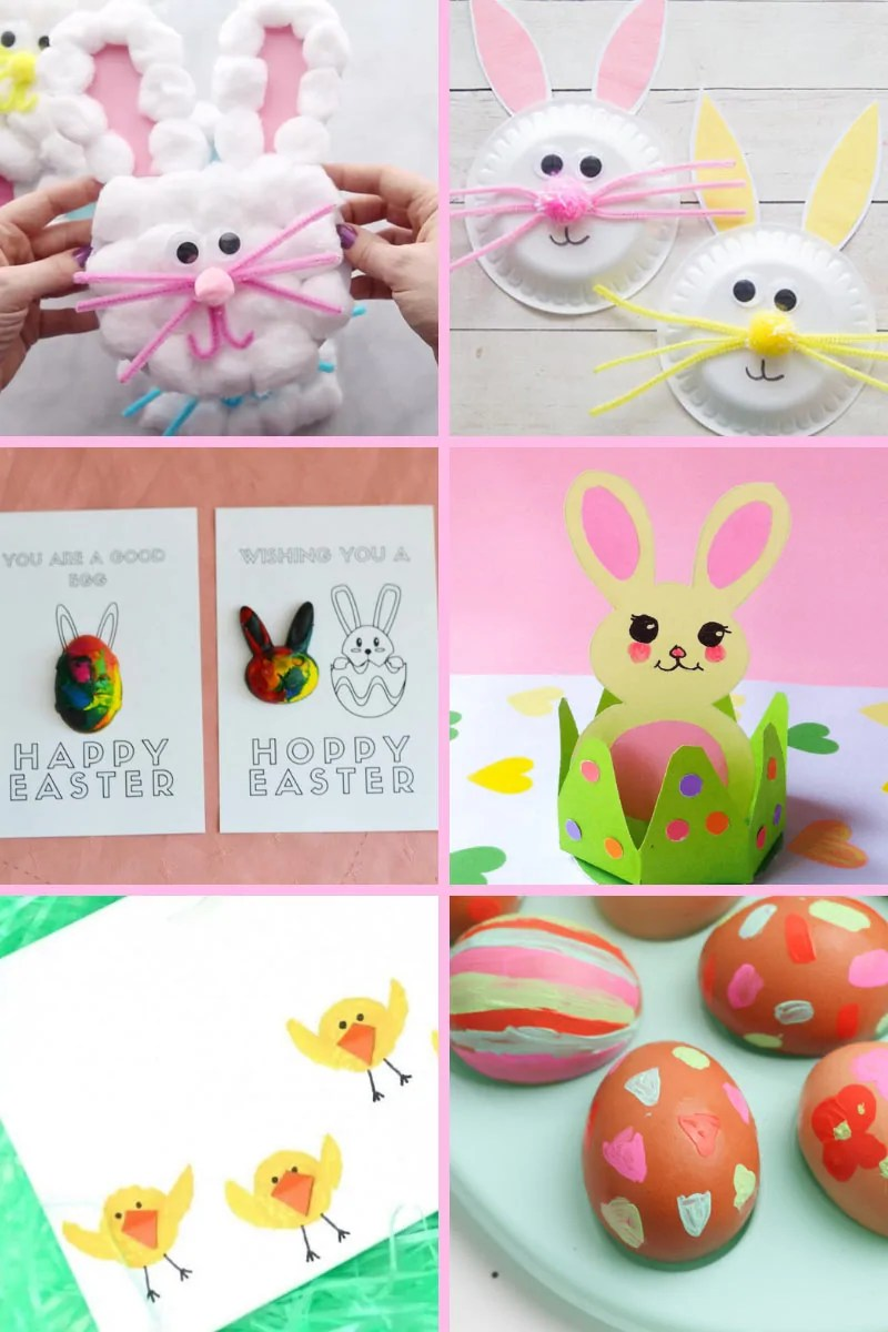 This variety of kid-friendly Easter crafts including paper crafts, egg crafts, food crafts, and more, will keep the kiddos busy while they wait for a visit from the Easter Bunny!