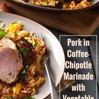 Pork in Coffee-Chipotle Marinade with Vegetable Rice