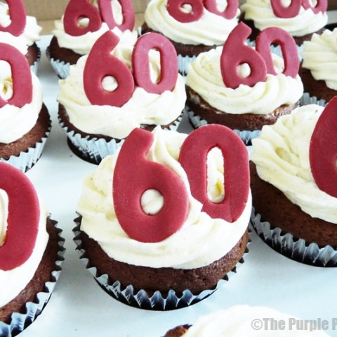 Red & White 60th Birthday Cupcakes