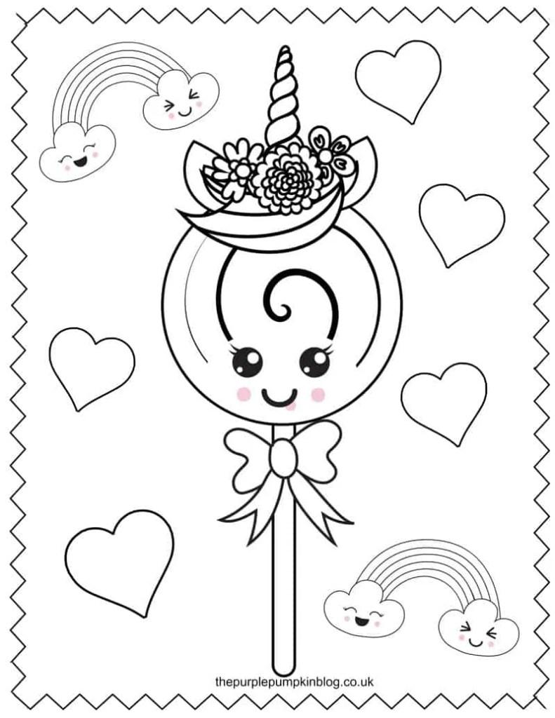 Unicorn Lollipop Coloring Page