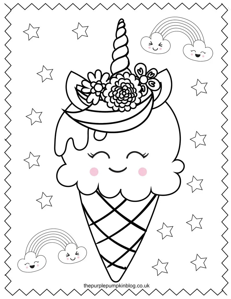 Ice Cream Cone Unicorn Colouring Sheet