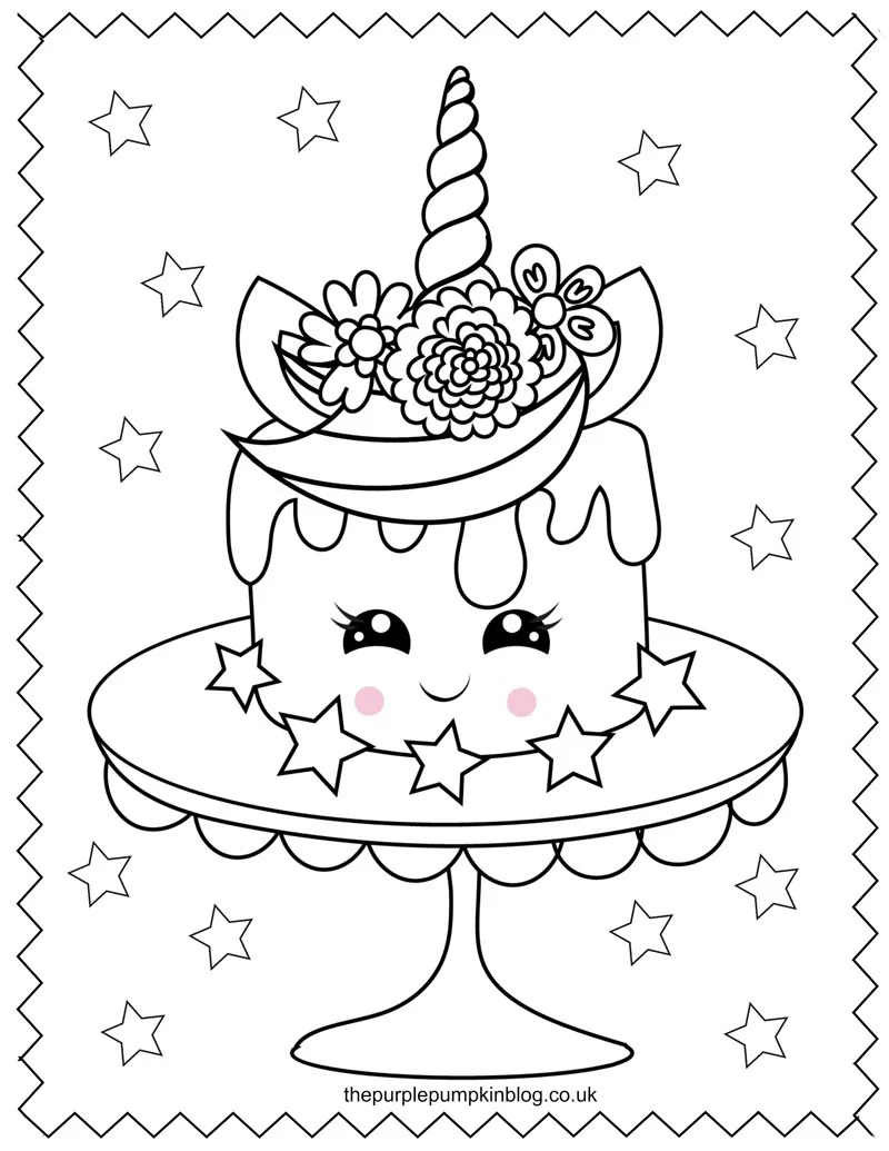 Unicorn Cake Coloring Page