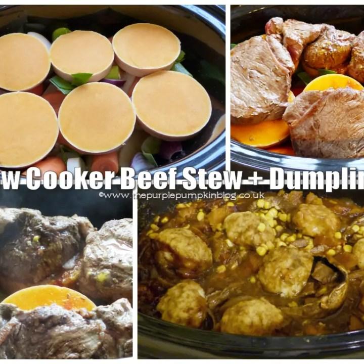 Slow Cooker Beef Stew + Dumplings