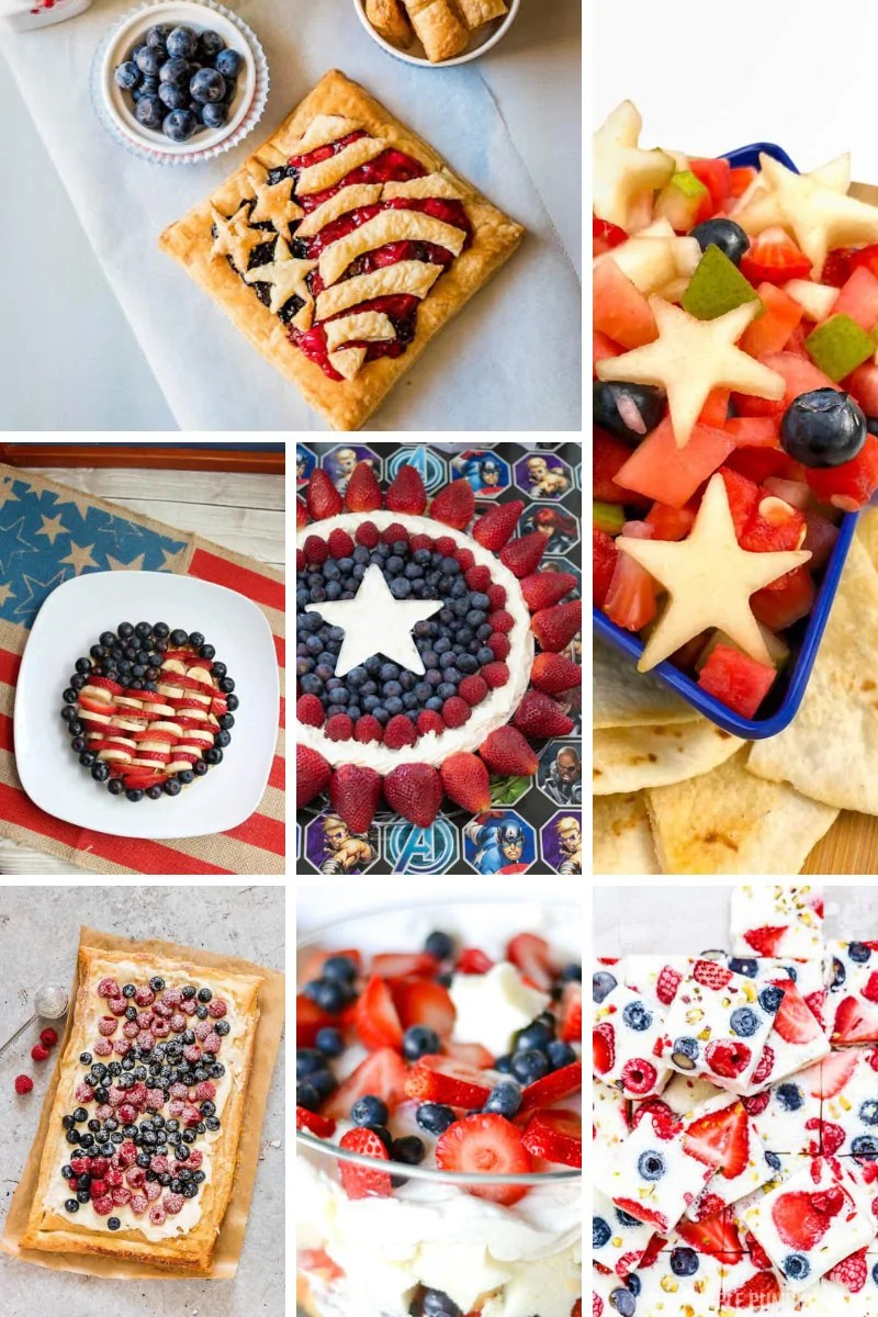 A collage of delicious fruit desserts for 4th of July