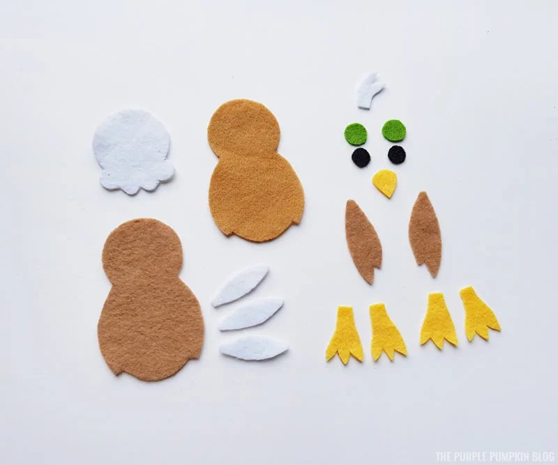 Felt American Bald Eagle Pieces