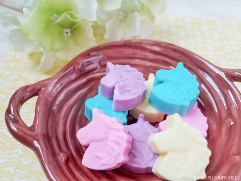 Bowl of unicorn shaped soaps