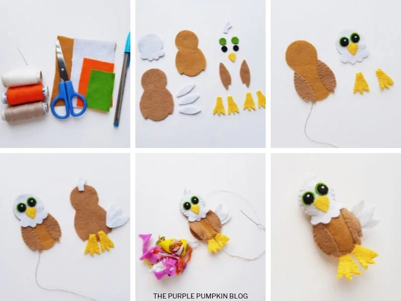 A collage demonstrating how to make an American Bald Eagle felt plush