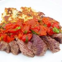 Flank Steak with Potato Rosti and Tomato-Caper Sauce