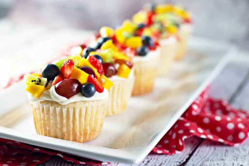 Fresh Fruit Salad Cupcakes on a white plate