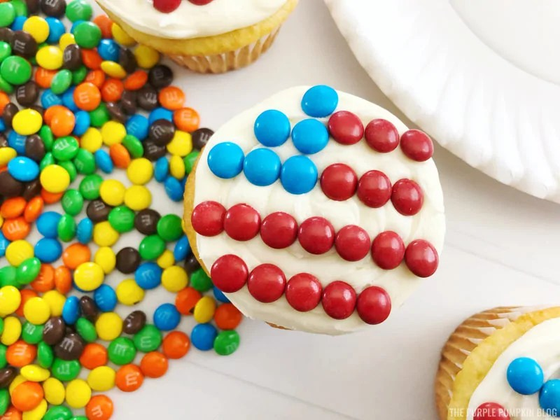 Red and Blue M&Ms on Cupcake