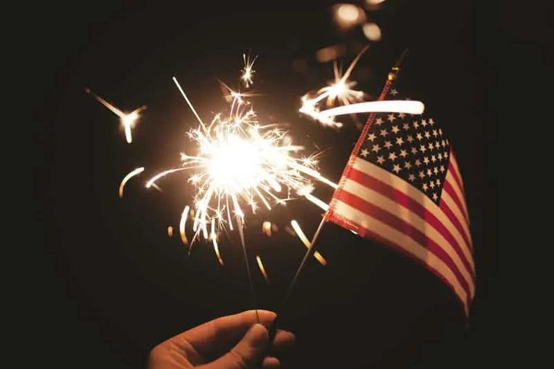 Sparkler & US Flag