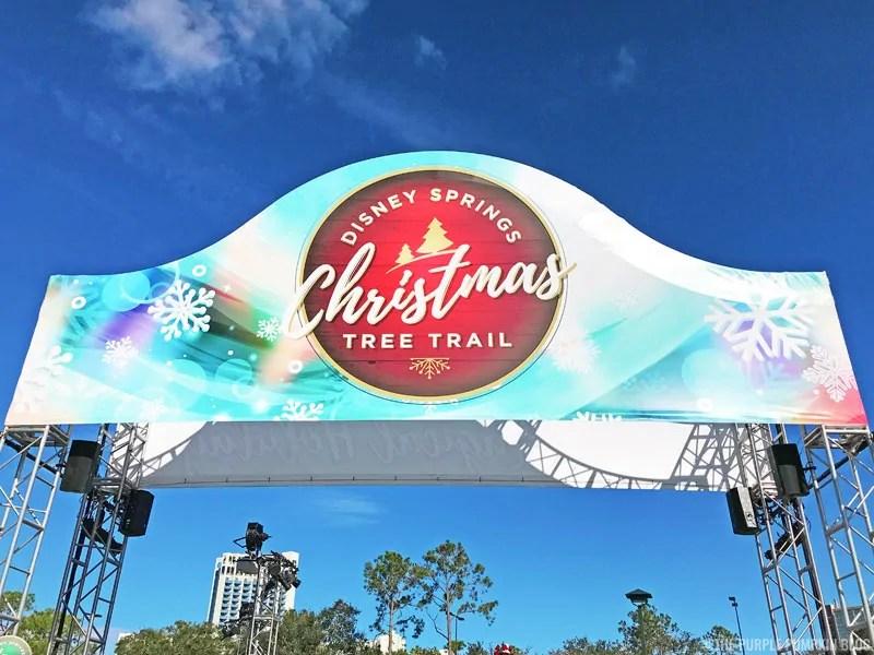 Disney Springs Christmas Tree Trail sign.