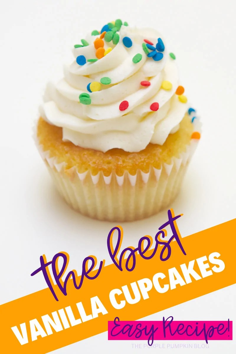 A vanilla cupcake with white frosting and multicolored sprinkles - the best vanilla cupcakes easy recipe!