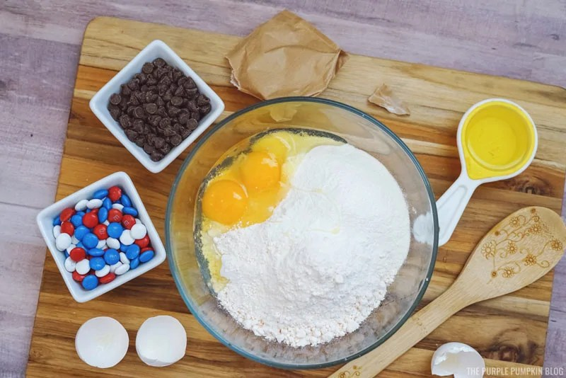 Cake mix with eggs added