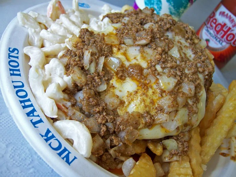 The Garbage Plate - dish of fried potatoes, hot dogs, chilli, baked beans, onions and mustard.